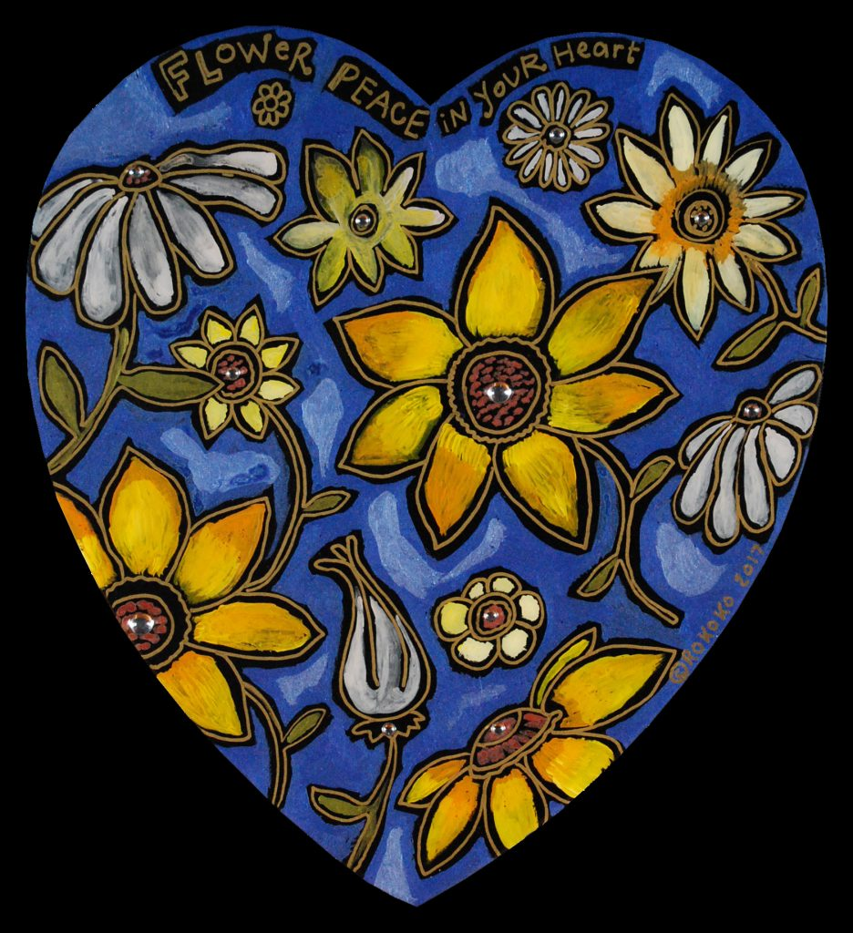 medium heart : flower peace