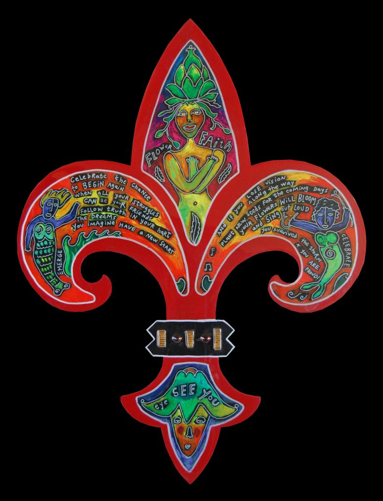 fleur de lis - large : flower faith red