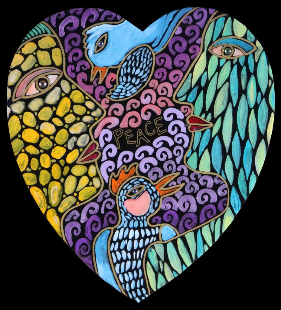 NEW medium heart : peace